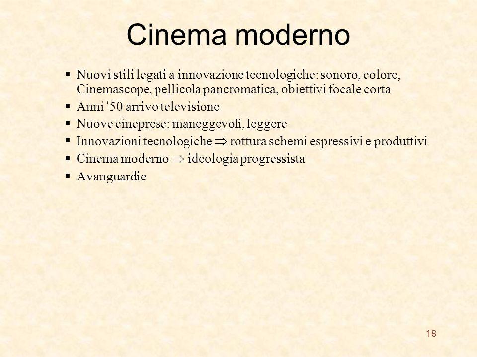 Cinema moderno Nuovi stili legati a innovazione tecnologiche: sonoro, colore, Cinemascope, pellicola pancromatica, obiettivi focale corta.