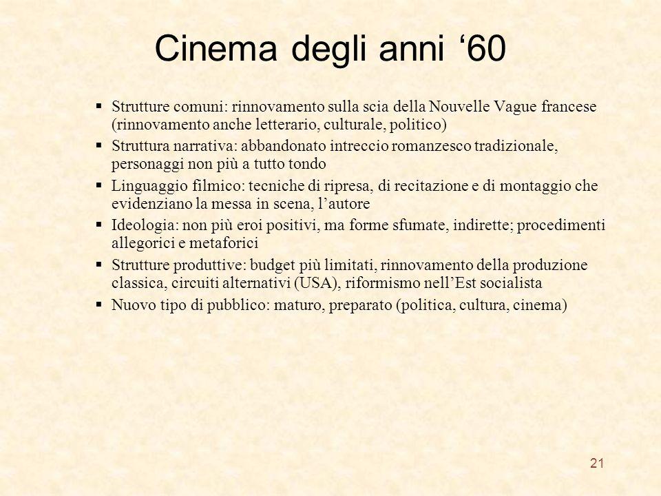 Cinema degli anni '60 Strutture comuni: rinnovamento sulla scia della Nouvelle Vague francese (rinnovamento anche letterario, culturale, politico)