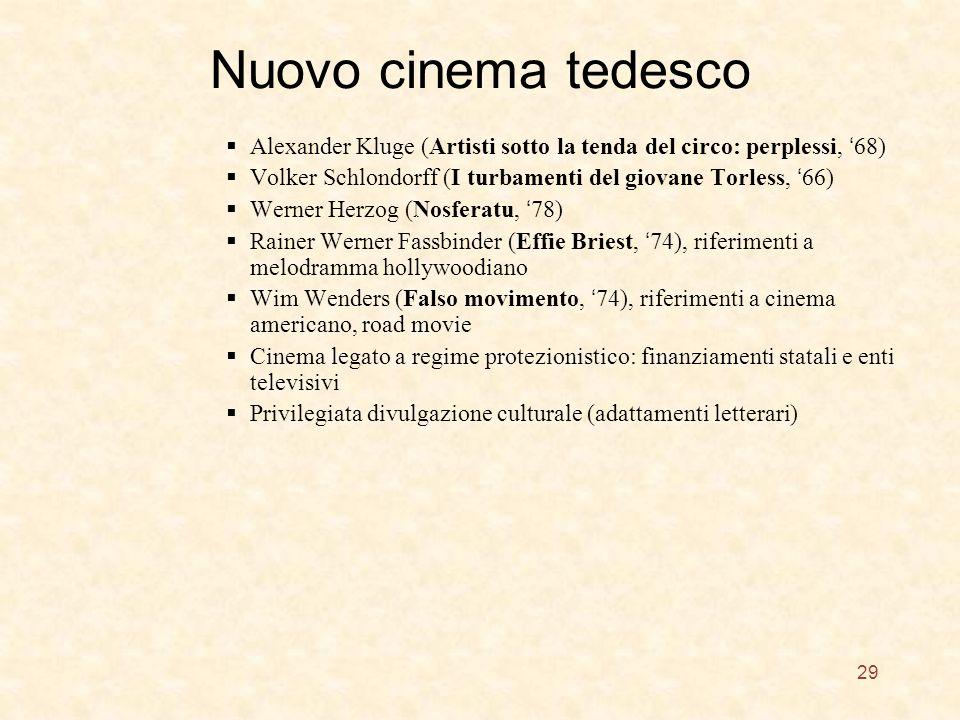 Nuovo cinema tedesco Alexander Kluge (Artisti sotto la tenda del circo: perplessi, '68) Volker Schlondorff (I turbamenti del giovane Torless, '66)