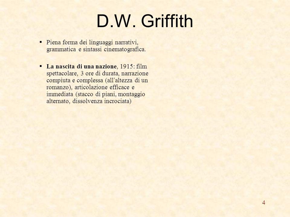 D.W. Griffith Piena forma dei linguaggi narrativi, grammatica e sintassi cinematografica.