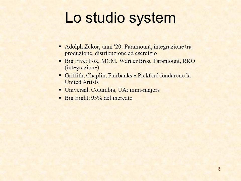 Lo studio system Adolph Zukor, anni '20: Paramount, integrazione tra produzione, distribuzione ed esercizio.