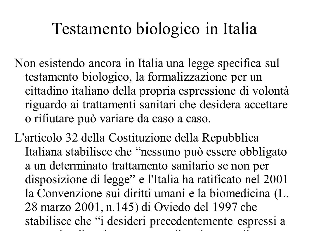 Testamento biologico in Italia
