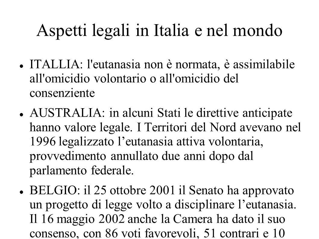 Aspetti legali in Italia e nel mondo