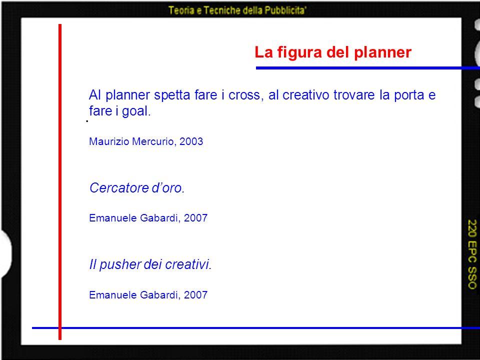 La figura del planner Al planner spetta fare i cross, al creativo trovare la porta e fare i goal. Maurizio Mercurio, 2003.