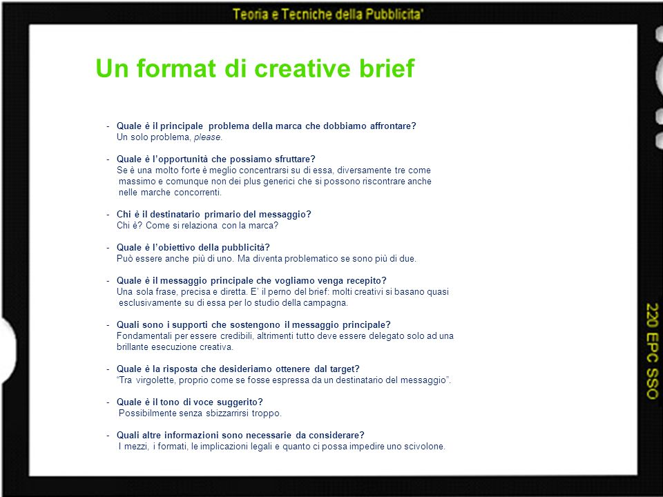 Un format di creative brief