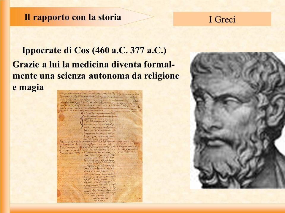Il rapporto con la storia Ippocrate di Cos (460 a.C. 377 a.C.)