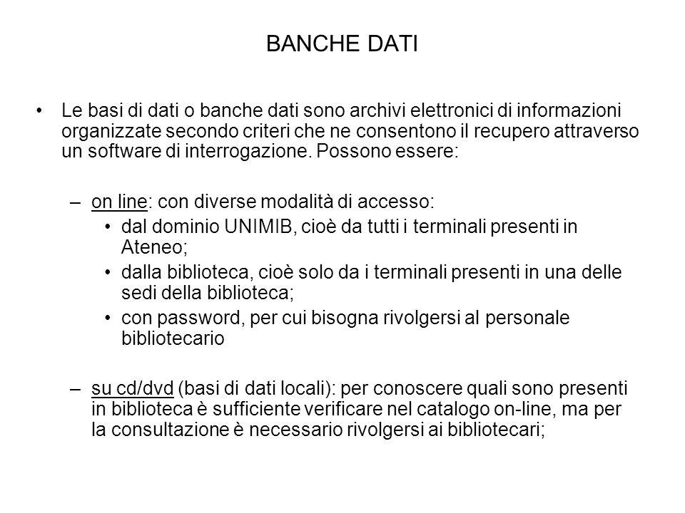 BANCHE DATI