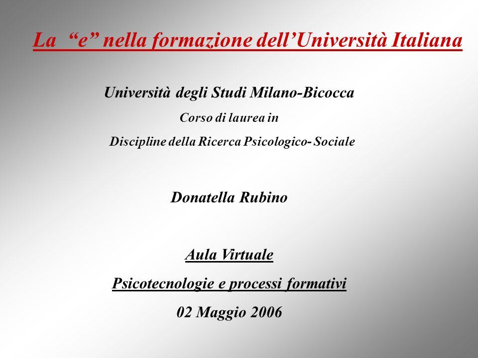 La e nella formazione dell'Università Italiana