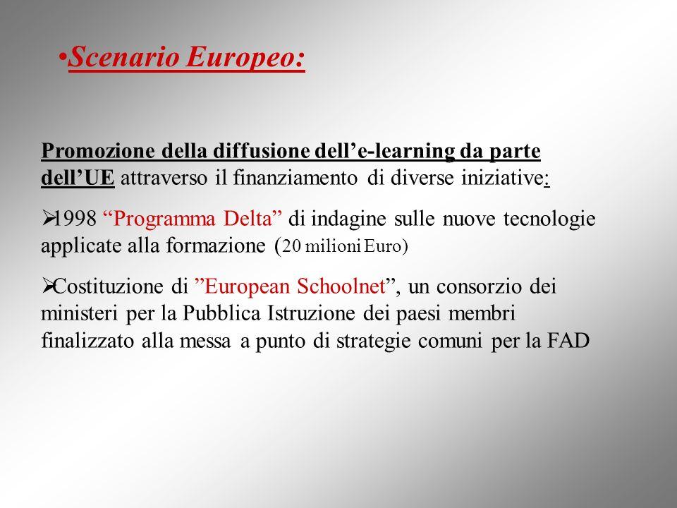 Scenario Europeo:Promozione della diffusione dell'e-learning da parte dell'UE attraverso il finanziamento di diverse iniziative: