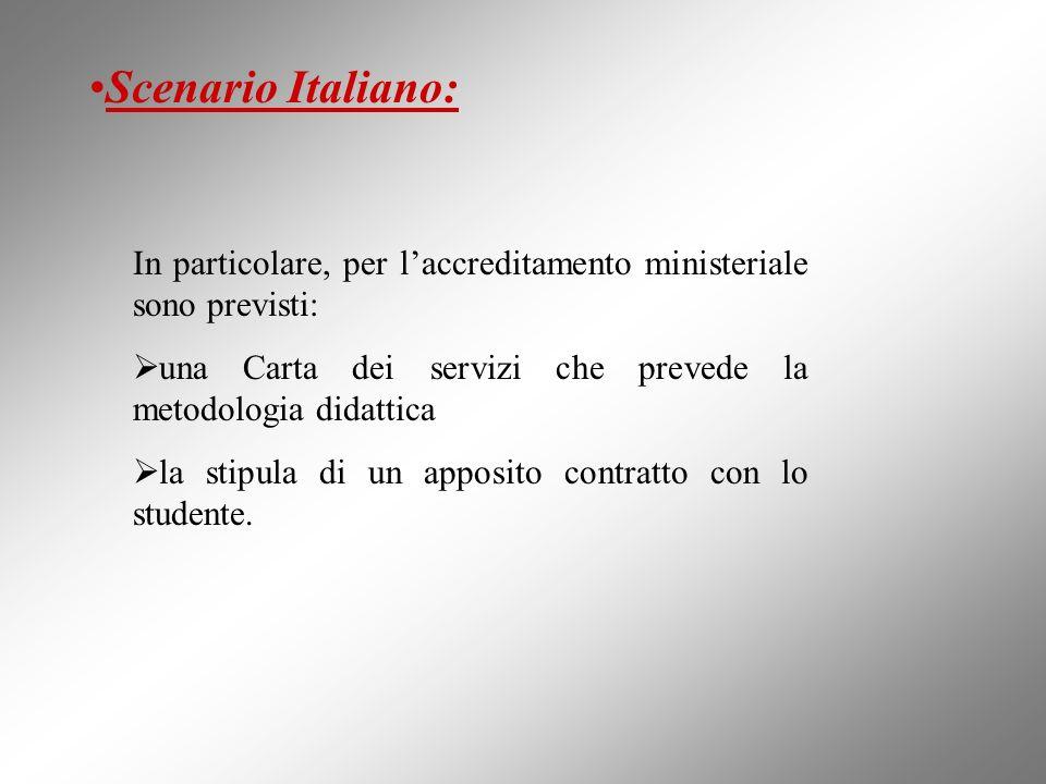Scenario Italiano: In particolare, per l'accreditamento ministeriale sono previsti: una Carta dei servizi che prevede la metodologia didattica.