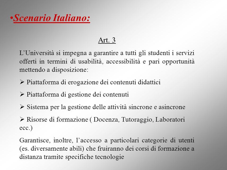 Scenario Italiano: Art. 3