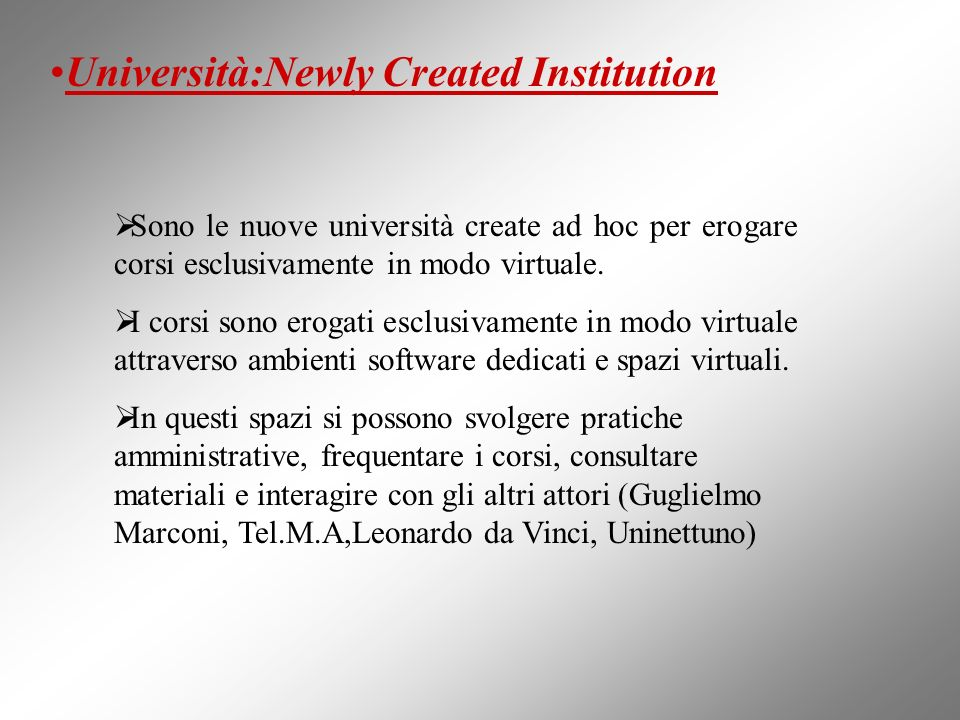 Università:Newly Created Institution