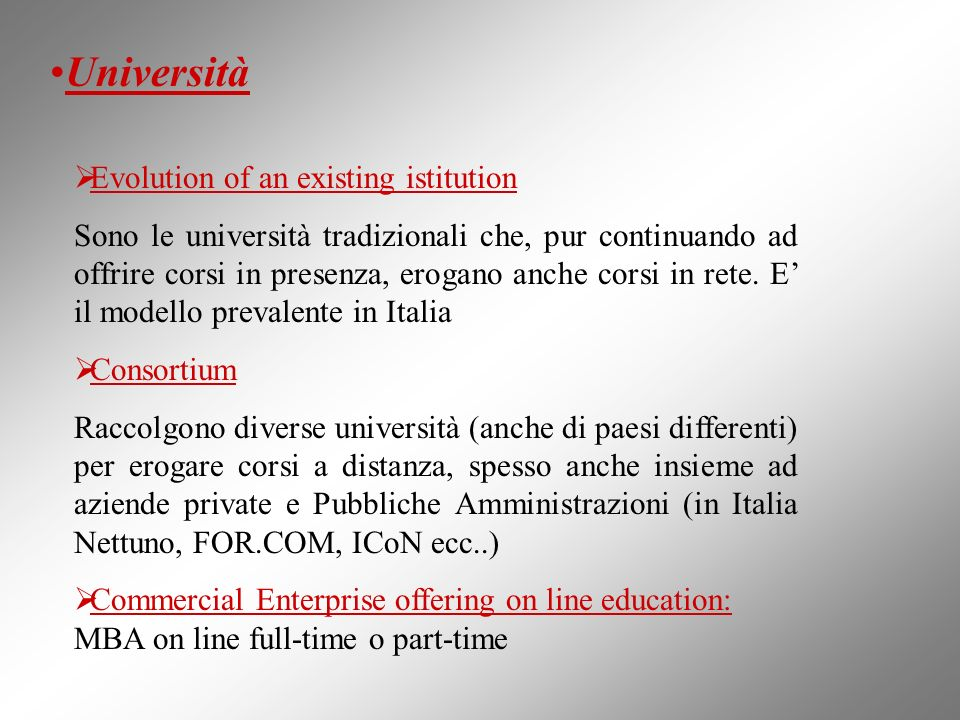 Università Evolution of an existing istitution