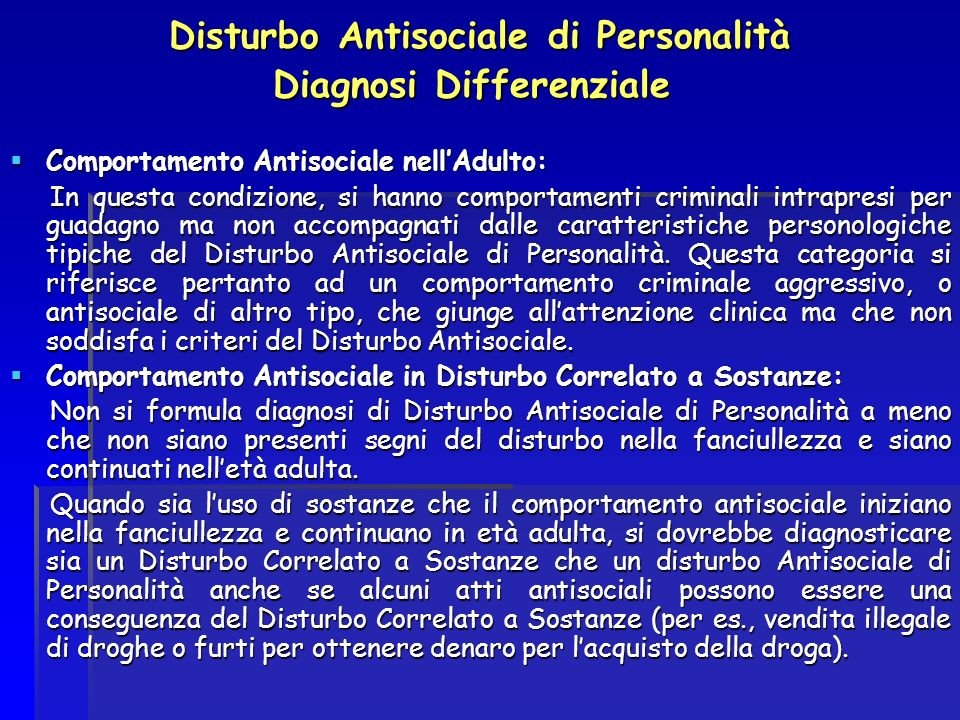 Disturbo Antisociale di Personalità Diagnosi Differenziale