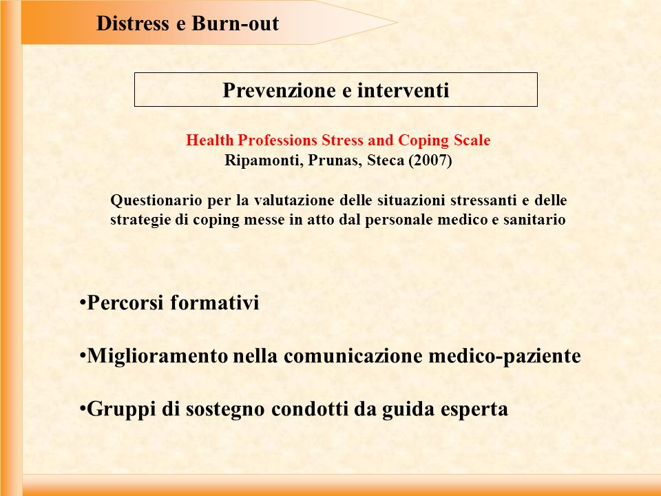 Distress e Burn-out Prevenzione e interventi