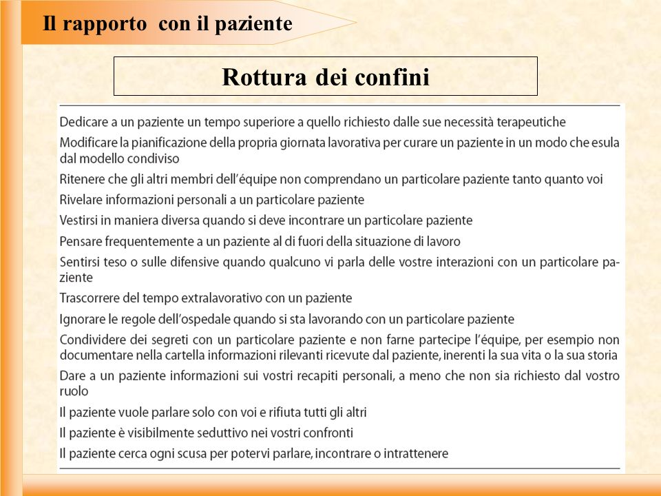 Il rapporto con il paziente
