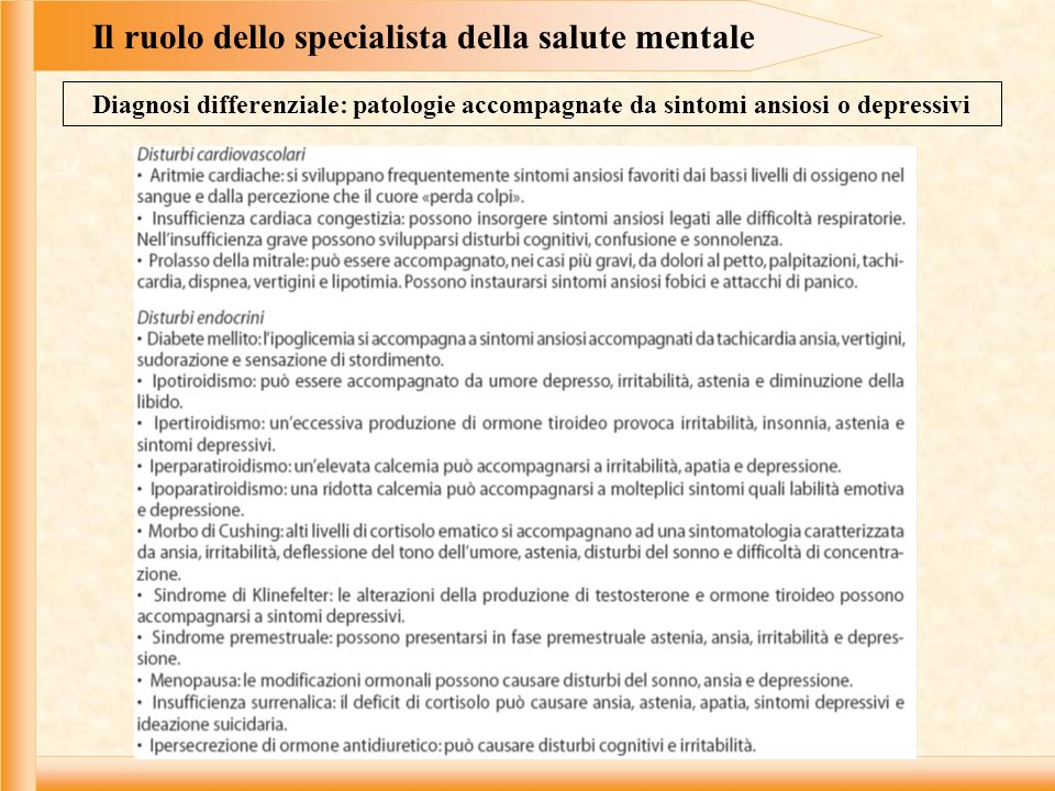 Il ruolo dello specialista della salute mentale