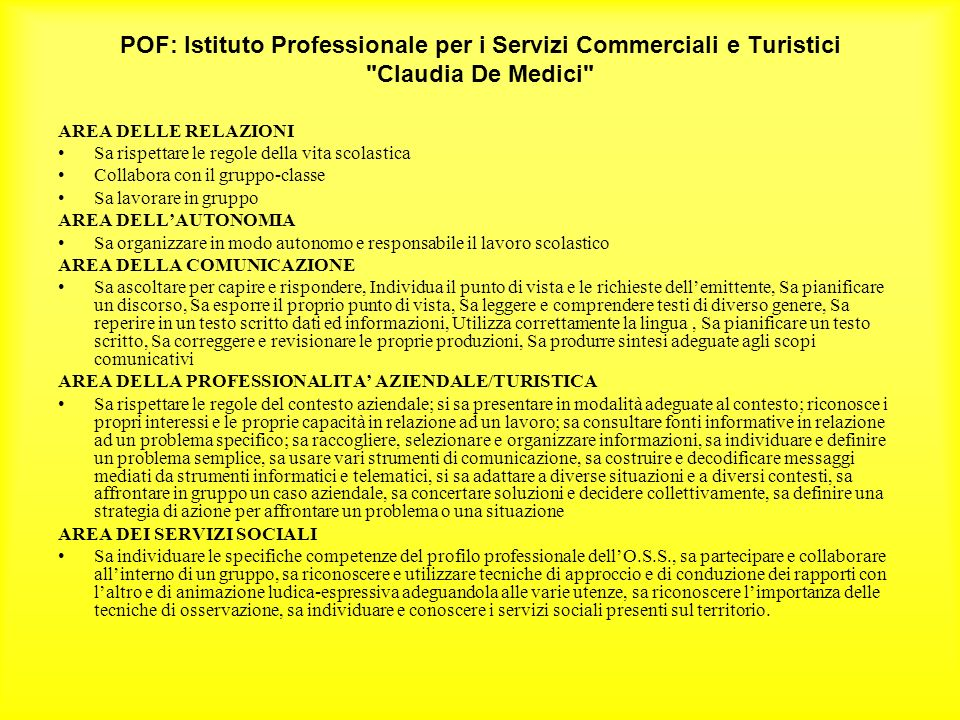 POF: Istituto Professionale per i Servizi Commerciali e Turistici Claudia De Medici