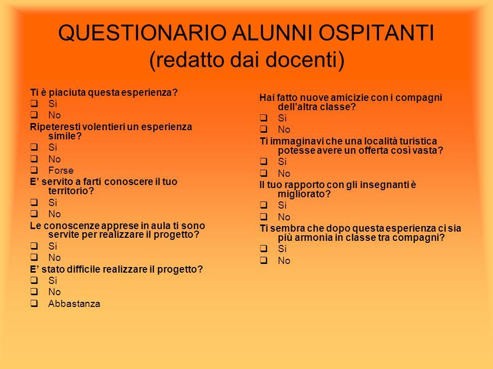 QUESTIONARIO ALUNNI OSPITANTI (redatto dai docenti)