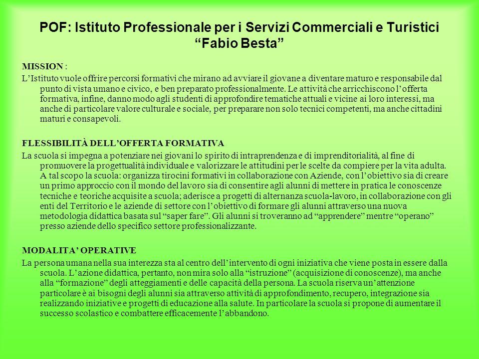 POF: Istituto Professionale per i Servizi Commerciali e Turistici Fabio Besta