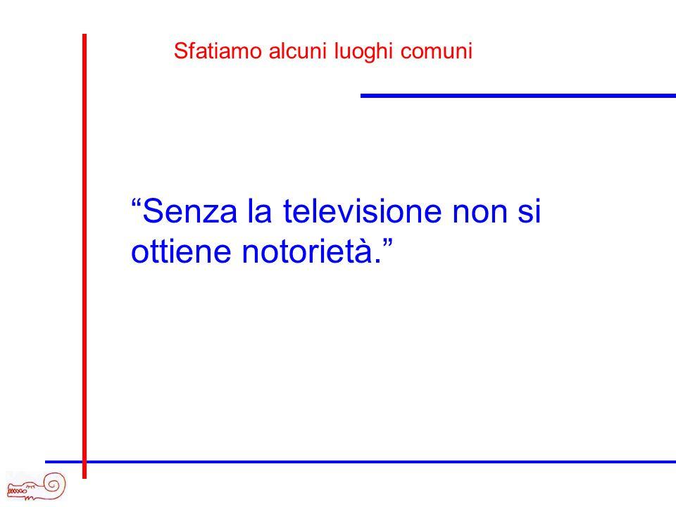 Senza la televisione non si ottiene notorietà.