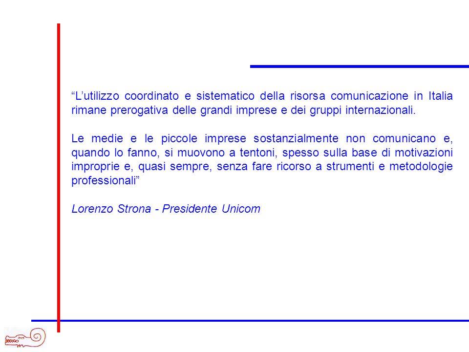 L'utilizzo coordinato e sistematico della risorsa comunicazione in Italia rimane prerogativa delle grandi imprese e dei gruppi internazionali.