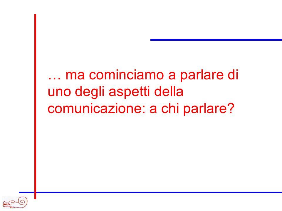 … ma cominciamo a parlare di uno degli aspetti della comunicazione: a chi parlare