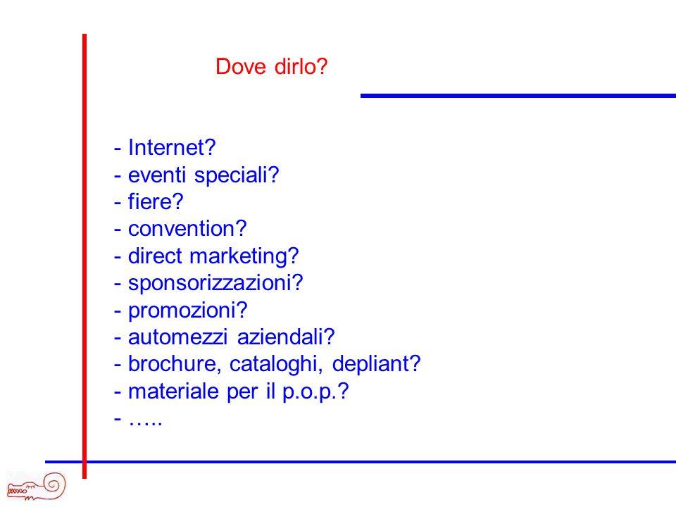 Dove dirlo Internet eventi speciali fiere convention direct marketing sponsorizzazioni promozioni