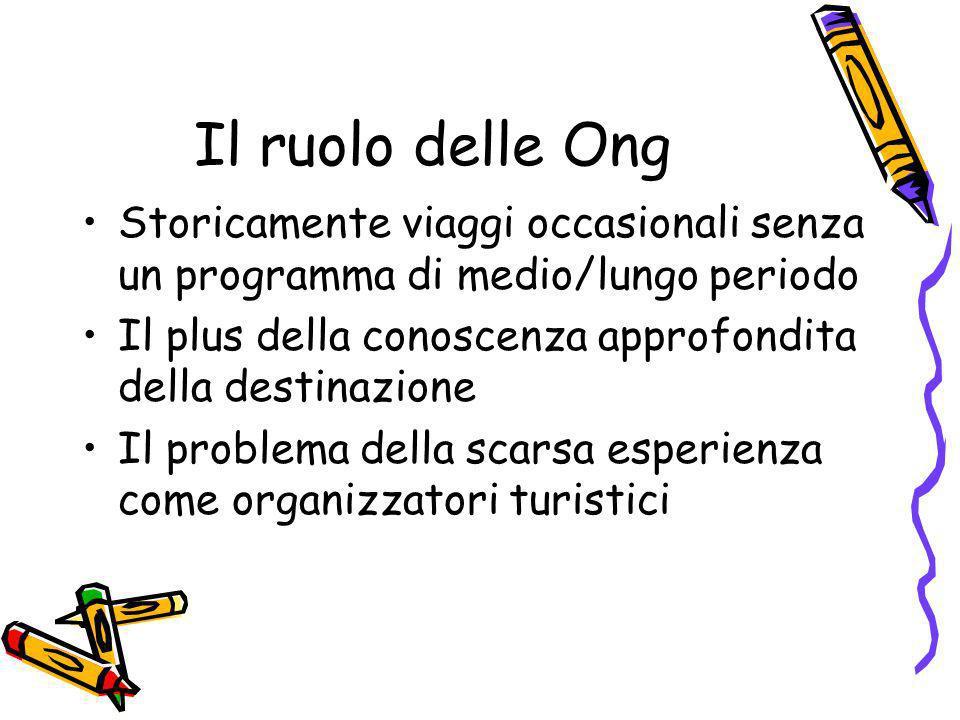 Il ruolo delle OngStoricamente viaggi occasionali senza un programma di medio/lungo periodo.
