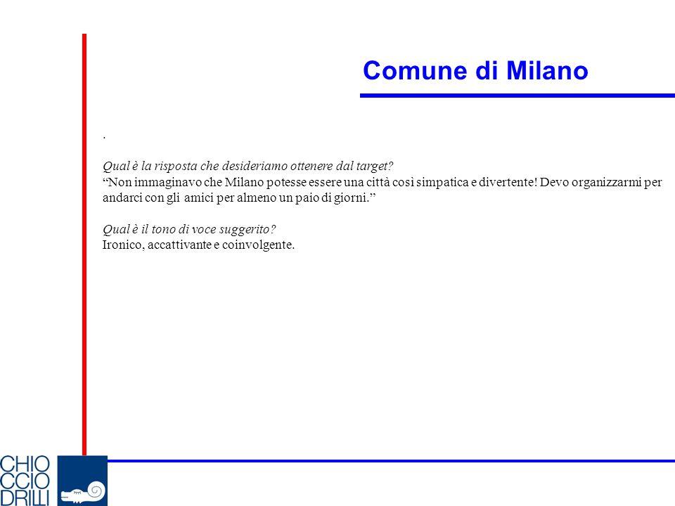 Comune di Milano . Qual è la risposta che desideriamo ottenere dal target