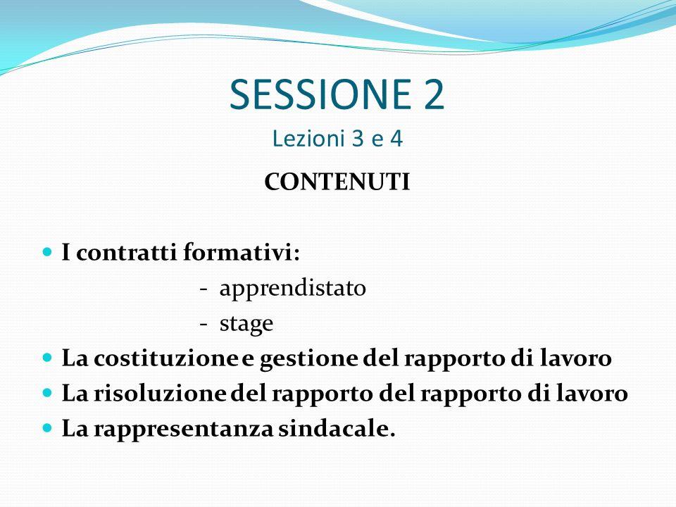 SESSIONE 2 Lezioni 3 e 4 CONTENUTI I contratti formativi: