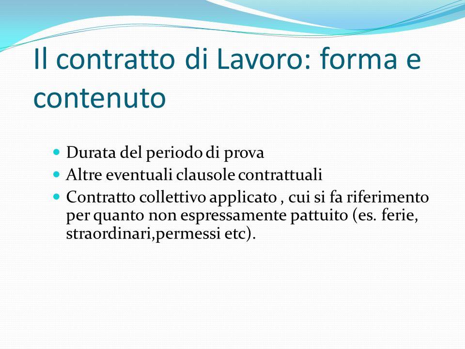 Il contratto di Lavoro: forma e contenuto