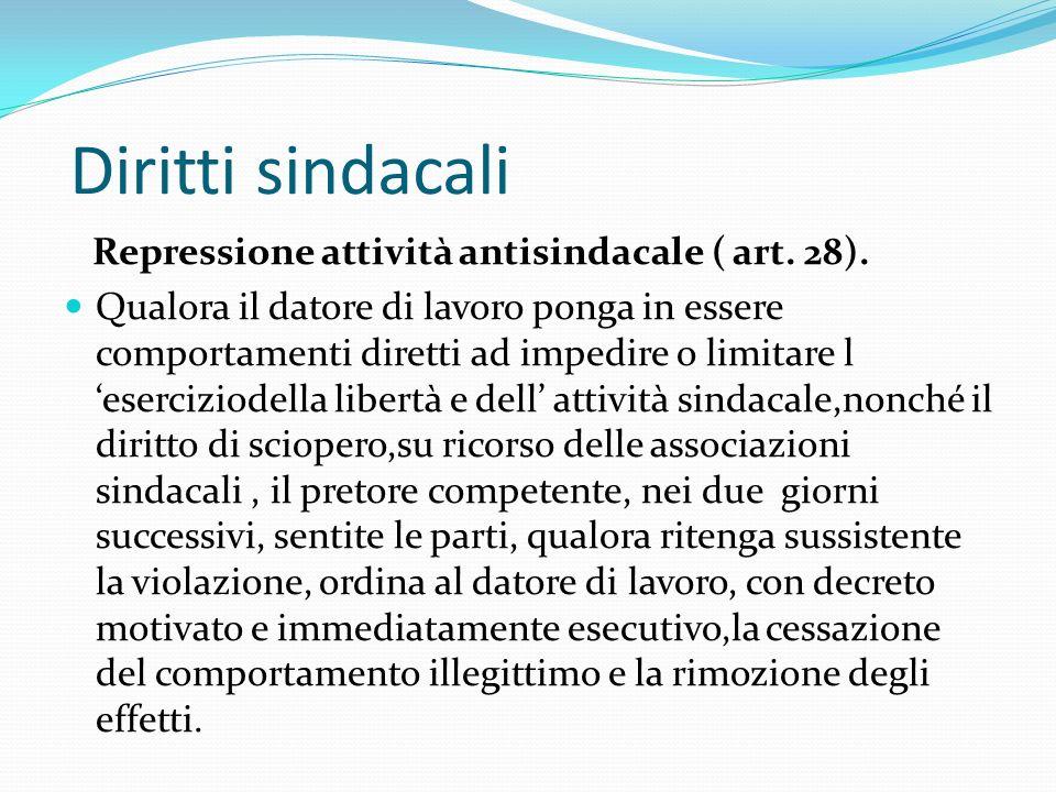 Diritti sindacali Repressione attività antisindacale ( art. 28).