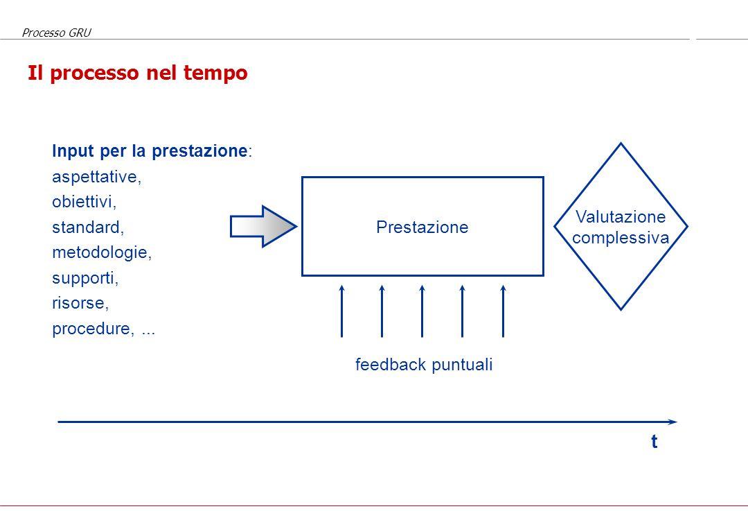 Il processo nel tempo t Input per la prestazione: aspettative,