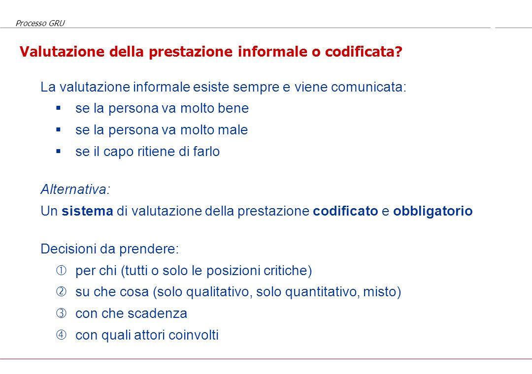 Valutazione della prestazione informale o codificata