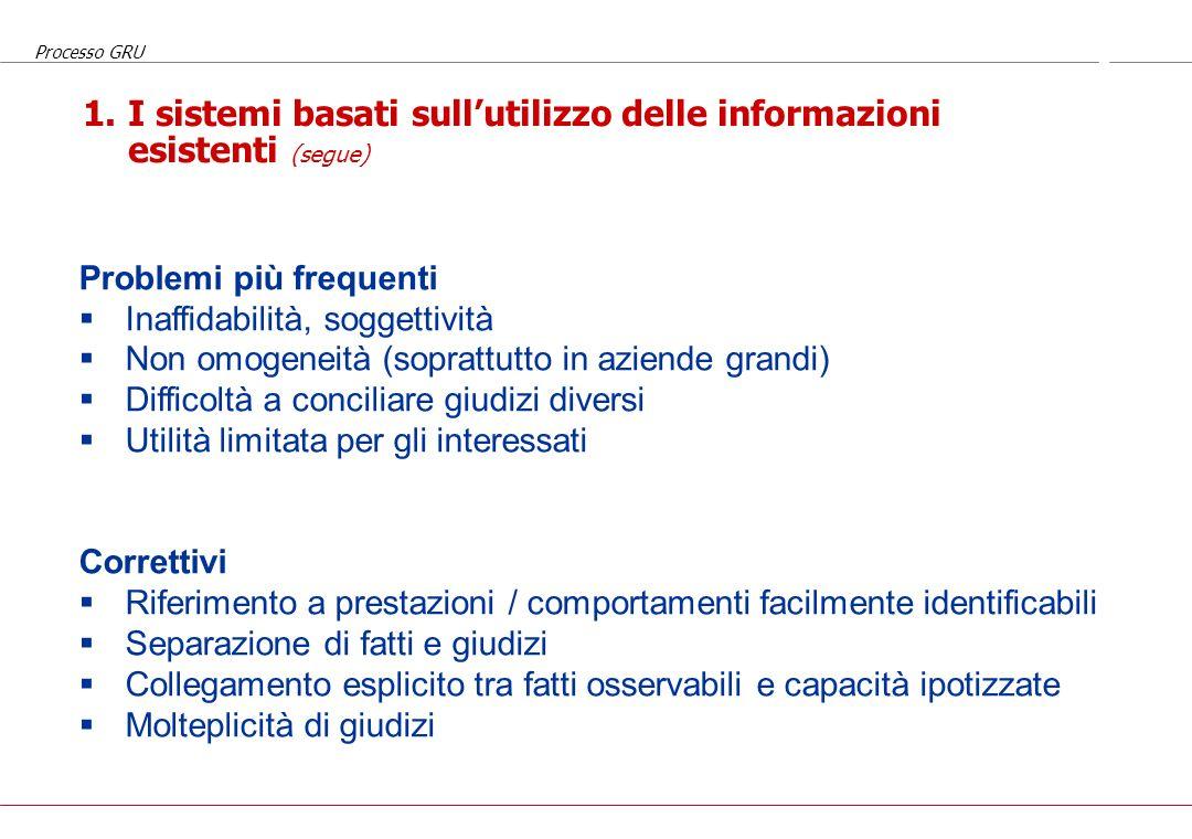 1. I sistemi basati sull'utilizzo delle informazioni esistenti (segue)