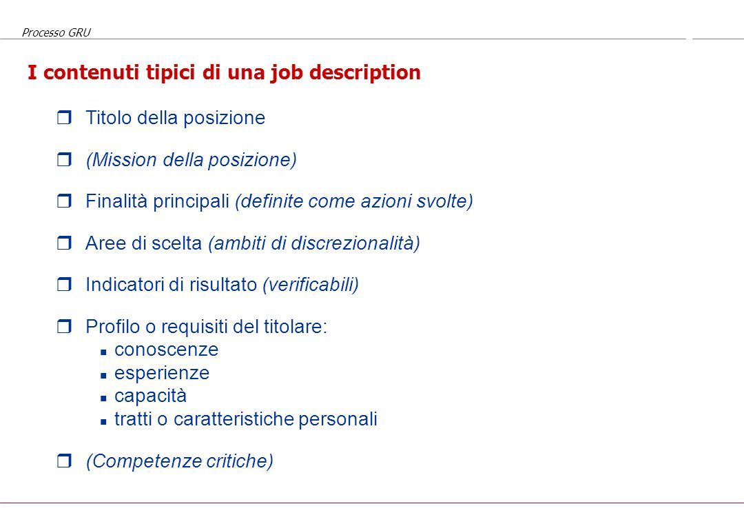 I contenuti tipici di una job description