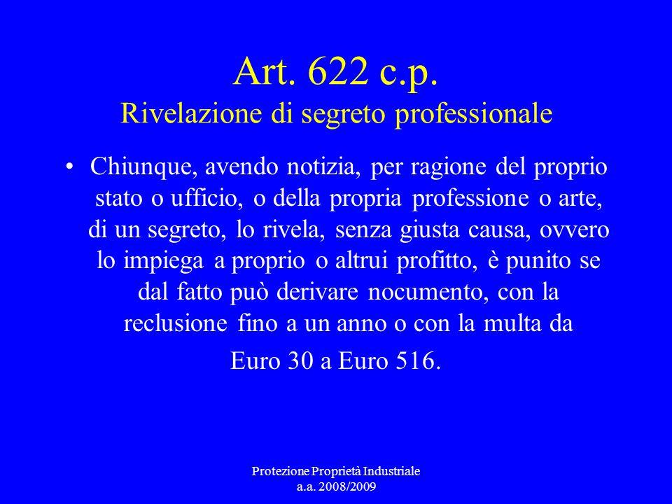 Art. 622 c.p. Rivelazione di segreto professionale