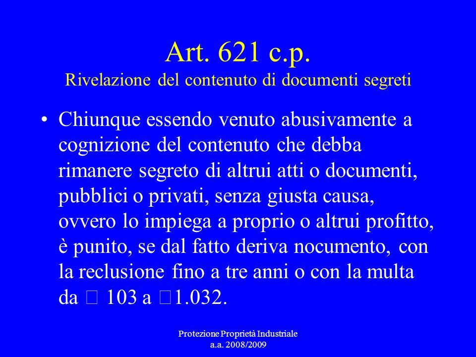 Art. 621 c.p. Rivelazione del contenuto di documenti segreti