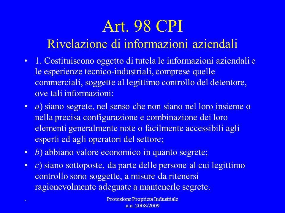 Art. 98 CPI Rivelazione di informazioni aziendali