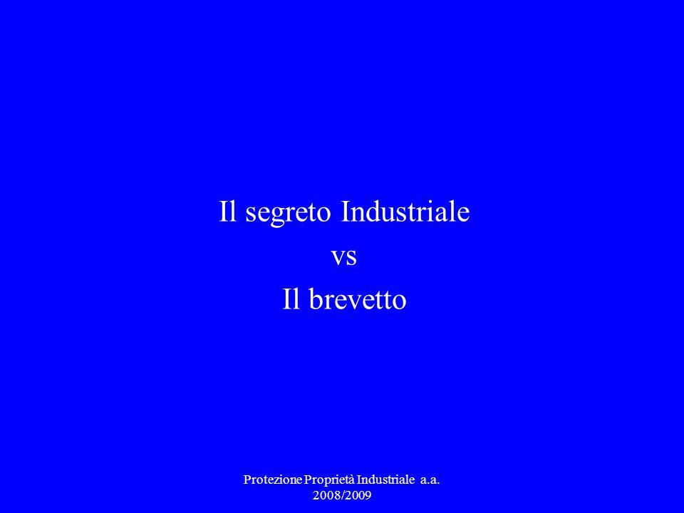 Il segreto Industriale vs Il brevetto