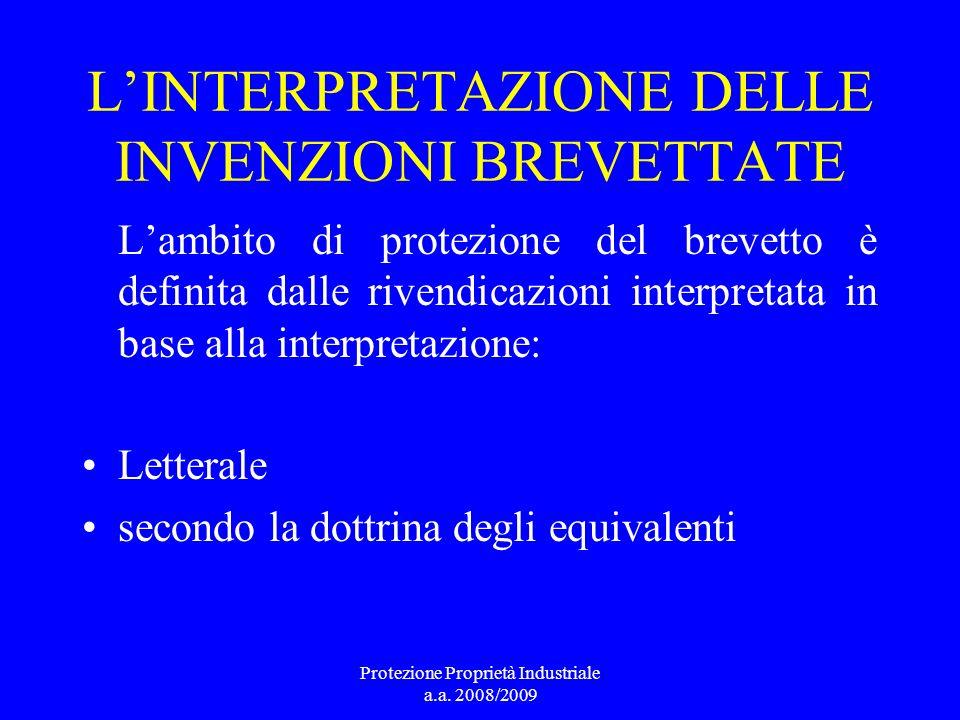 L'INTERPRETAZIONE DELLE INVENZIONI BREVETTATE