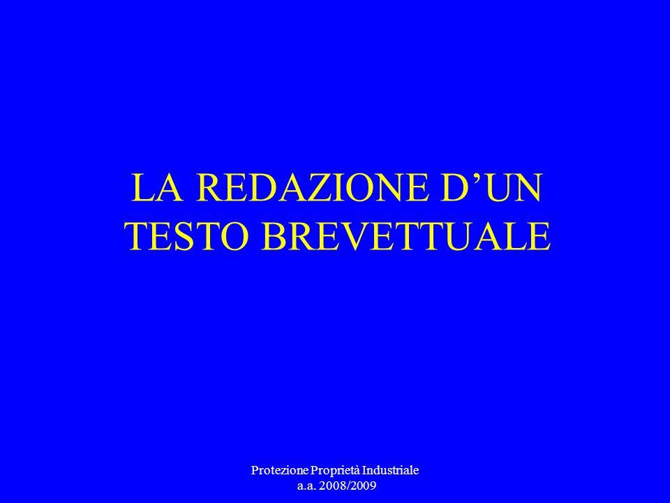 LA REDAZIONE D'UN TESTO BREVETTUALE