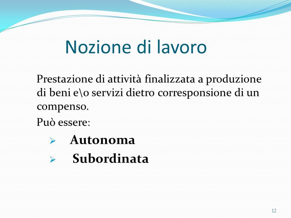 Nozione di lavoro Autonoma Subordinata