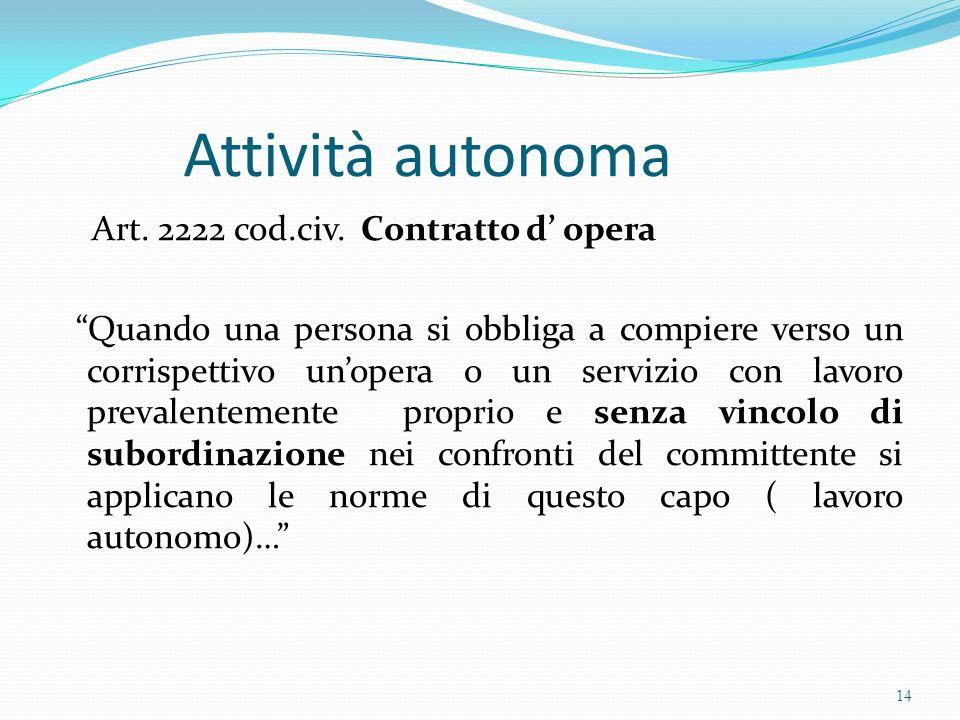 Attività autonoma Art. 2222 cod.civ. Contratto d' opera