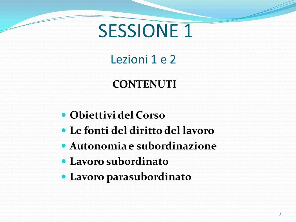 SESSIONE 1 Lezioni 1 e 2 CONTENUTI Obiettivi del Corso