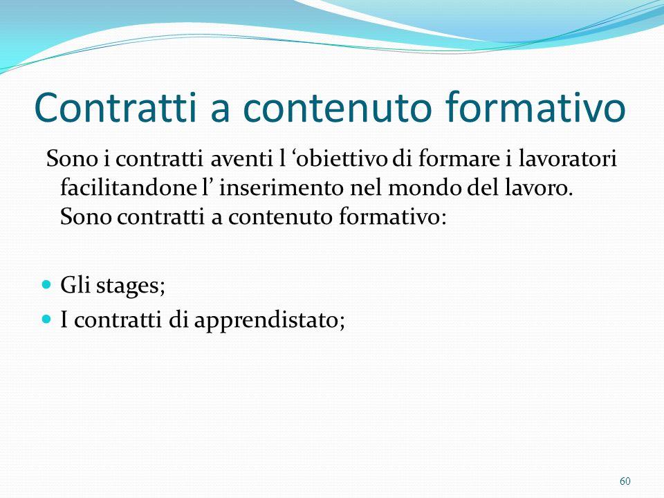 Contratti a contenuto formativo