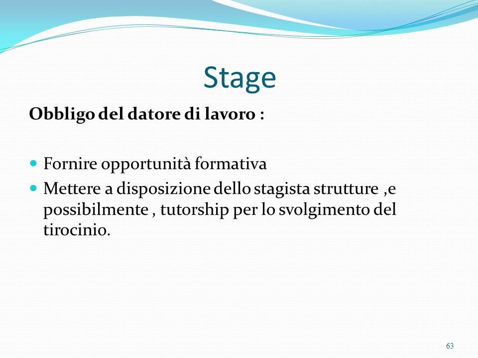 Stage Obbligo del datore di lavoro : Fornire opportunità formativa