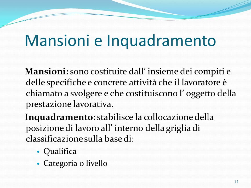 Mansioni e Inquadramento