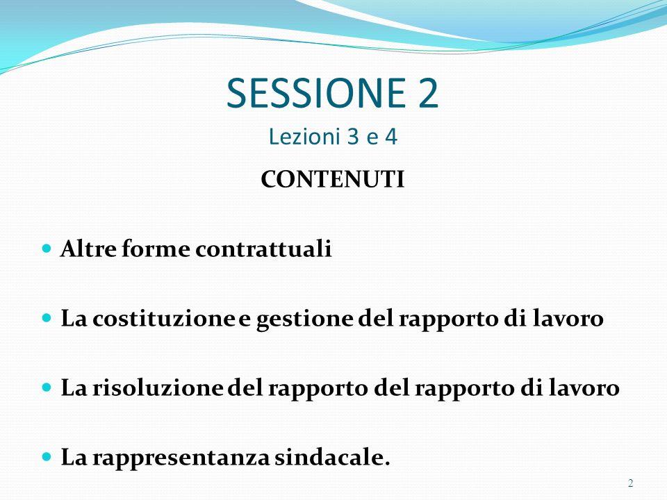 SESSIONE 2 Lezioni 3 e 4 CONTENUTI Altre forme contrattuali